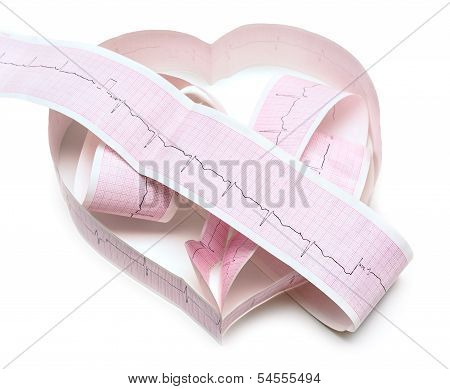 Paper Ecg Graph In Shape Of Heart