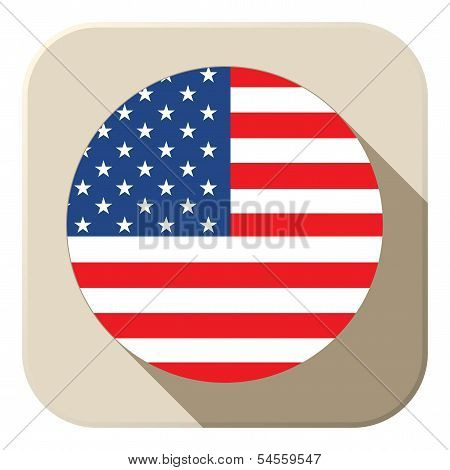 Usa Flag Button Icon Modern