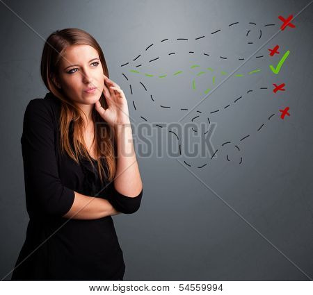 Beautiful young woman choosing between right and wrong signs