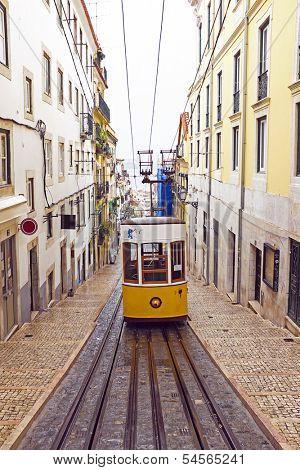 Bica tram in Lisbon Portugal