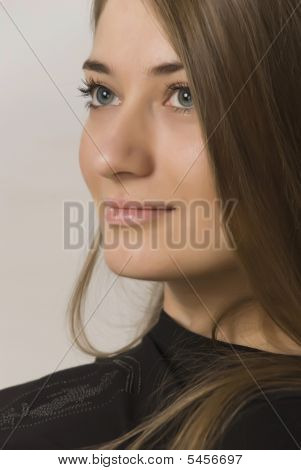 Portrait Of Girl Of Blonde  In A Type