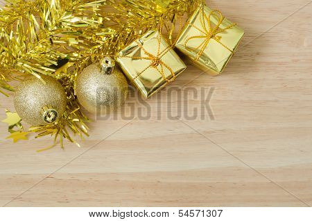 Gold Christmas Bauble And Two Present Boxes