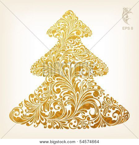christmas tree with stylish gold ornament, vector illustration