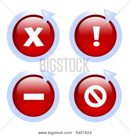 glossy red website error icons with arrows