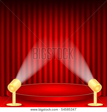 theatrical background.scene and red curtains.scene illuminated floodlights.red podium on a background of red drape curtains.vector poster