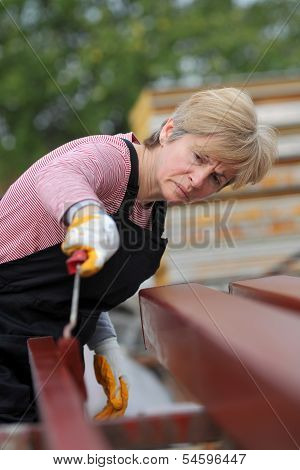 Serious female worker