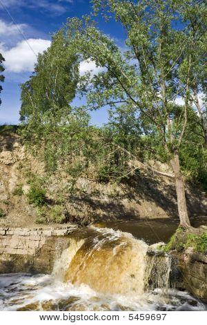 Fleeting Water Of Waterfall
