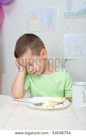 Boy Don't Want To Eat Meal In Kindergarten