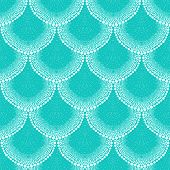 Pattern in art deco style in tropical aqua blue poster