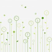 Surreal green clock flowers and butterflies. Vector illustration. poster
