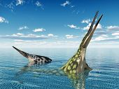 Computer generated 3D illustration with the prehistoric Marine Reptile Hupehsuchus poster