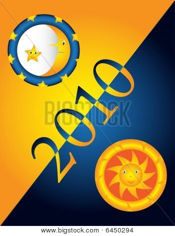 Blue and gold collage with 2010 year representation poster
