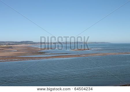 Beach and mouth of River South Esk Montrose Scotland
