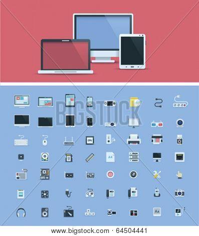 Computer hardware icon set