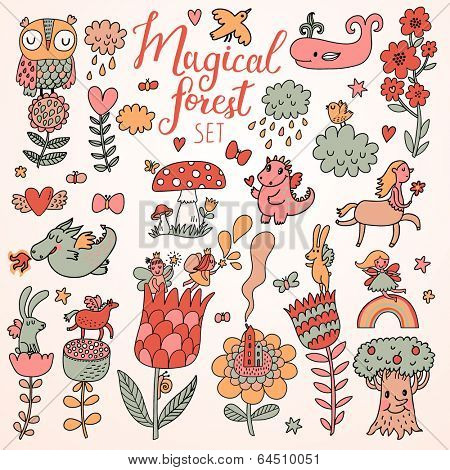 Magic forest concept set in vector. A lot of fantastic signs in cartoon style: tree, rabbit, dragon, whale, horse, centaur, mushroom, flowers, birds, butterflies and others