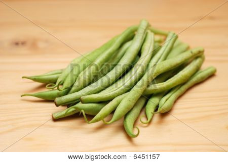 French Beans On Wooden Surface