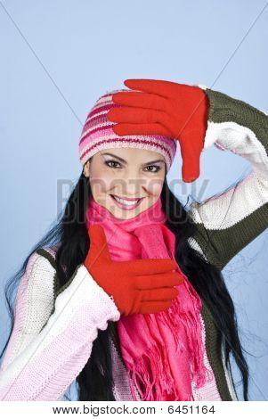 Happy Winter Woman Face