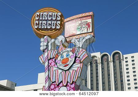 Circus Circus Hotel and Casino Neon Sign at Reno, Nevada