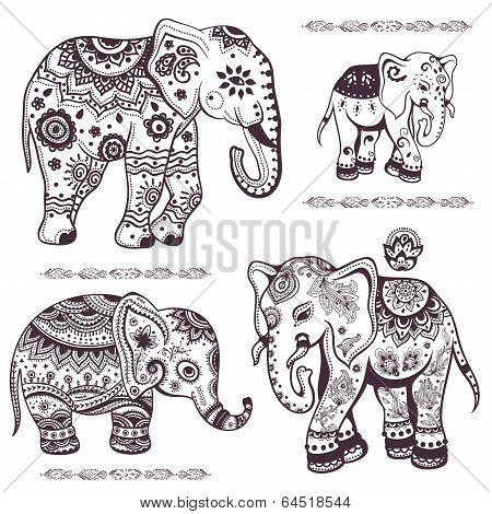 Set of hand drawn ethnic elephants