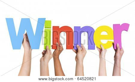 Multiethnic Group of Hands Holding Winner