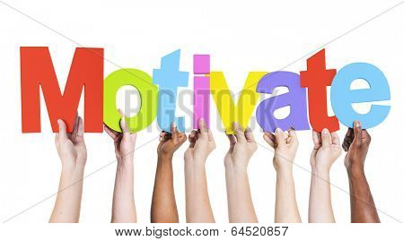 Multiethnic Group of Hands Holding Motivate