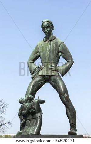 Statue Of Lange Wapper In Antwerp.