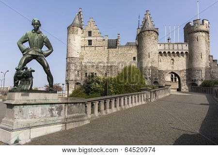 Lange Wapper Statue And Antwerp Castle Aka Steen (stone).
