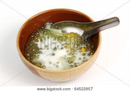 Sago Thai dessert isolate on white background poster