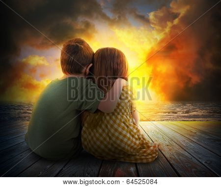 Two Children Watching Summer Sunset