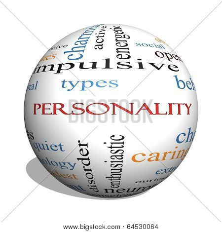 Personality 3D Sphere Word Cloud Concept