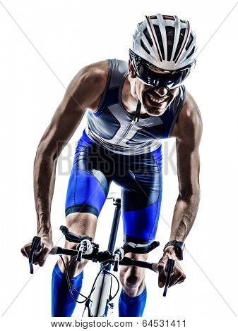 man triathlon iron man athlete bikers cyclists bicycling biking  in silhouettes on white background poster