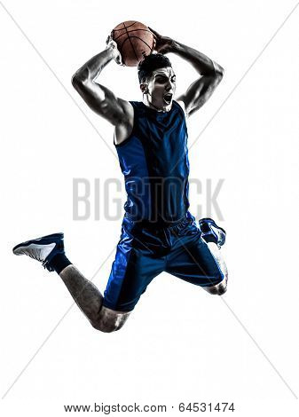 one  man basketball player jumping dunking in silhouette isolated white background