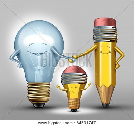 Creativity concept as a mother lightbulb and father pencil characters giving birth to a child that combines the creative strength of both parents as a synergy metaphor for successful results with collaboration through planning and partnership poster