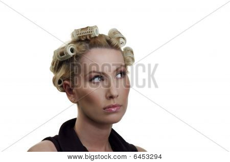 The girl about hair curlers