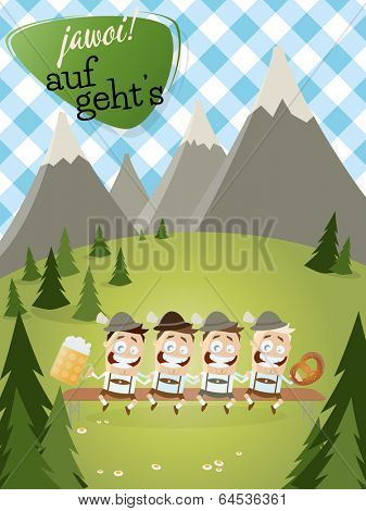 bavarian background with traditional people and text that means yes let's go.