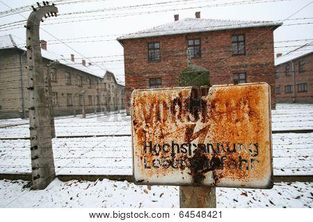 High voltage sign at a german WWII prisoner camp