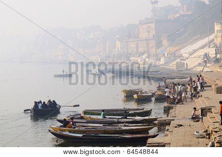 Morning haze at Banaras holy Ghats, Ganges River,India