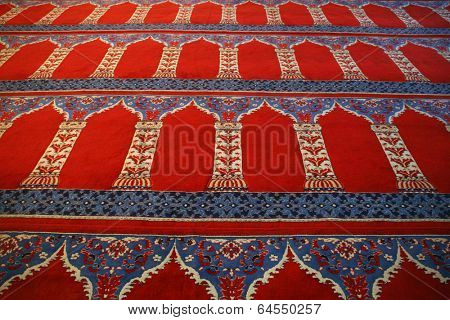 Red carpet with arabic motive from a mosque (Blue Mosque, Istanbul)