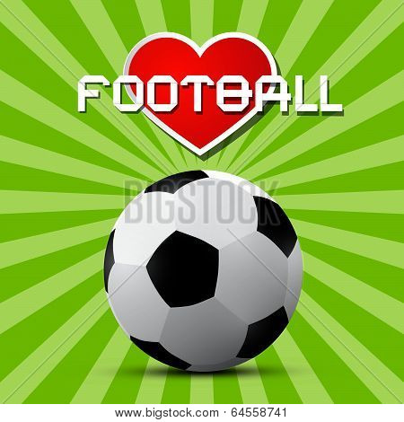 Love Football Theme on Retro Green Background