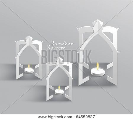 Vector 3D Muslim Paper Sculpture Oil Lamp Translation: Ramadan K