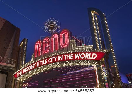 The Sign of Reno Arch at Night, Nevada