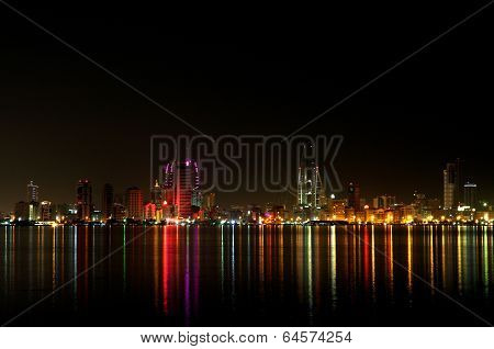 Bahrain skyline with colourful lights