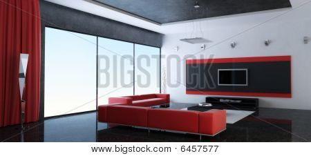 Modern interior of a drawing room with red sofas
