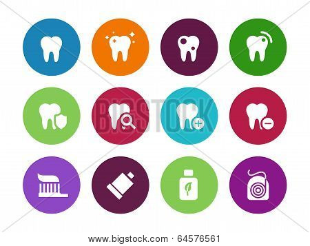 Tooth, teeth circle icons on white background.
