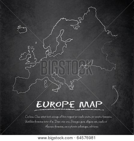 Europe map blackboard chalkboard vector