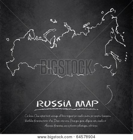 Russia map blackboard chalkboard vector