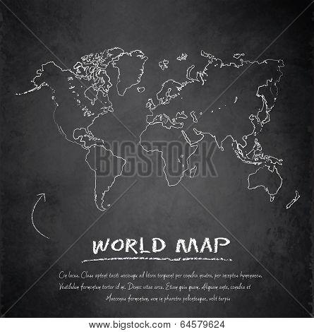 World map blackboard chalkboard vector