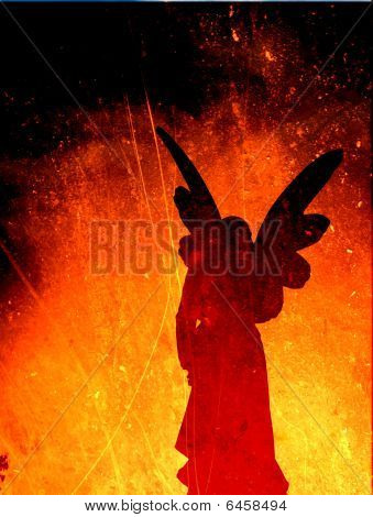 Angel Silhouette On A Fire Texture