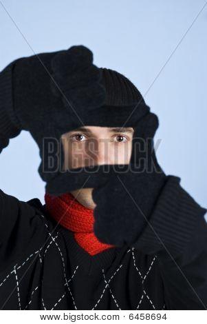Winter Man Framing Face