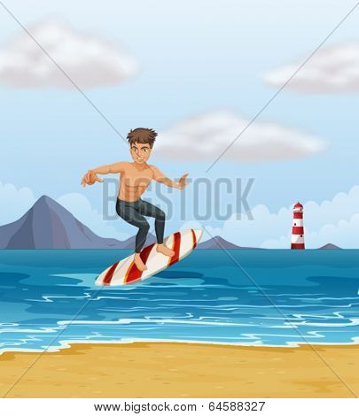 Illustration of a boy surfing at the beach